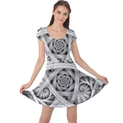 Fractal Wallpaper Black N White Chaos Cap Sleeve Dresses by Amaryn4rt