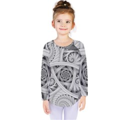 Fractal Wallpaper Black N White Chaos Kids  Long Sleeve Tee