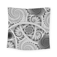 Fractal Wallpaper Black N White Chaos Square Tapestry (small)