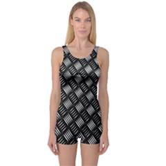 Abstract Of Metal Plate With Lines One Piece Boyleg Swimsuit