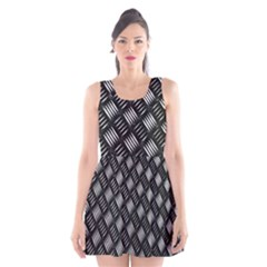 Abstract Of Metal Plate With Lines Scoop Neck Skater Dress