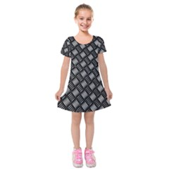 Abstract Of Metal Plate With Lines Kids  Short Sleeve Velvet Dress