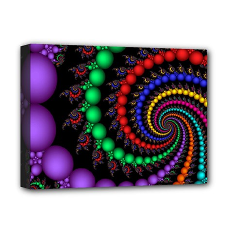 Fractal Background With High Quality Spiral Of Balls On Black Deluxe Canvas 16  X 12   by Amaryn4rt