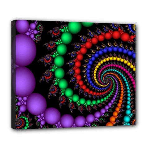 Fractal Background With High Quality Spiral Of Balls On Black Deluxe Canvas 24  X 20   by Amaryn4rt