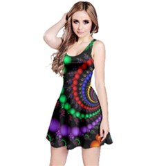 Fractal Background With High Quality Spiral Of Balls On Black Reversible Sleeveless Dress