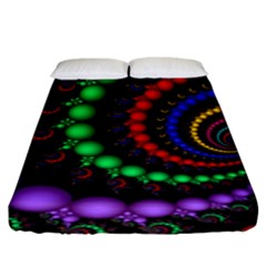 Fractal Background With High Quality Spiral Of Balls On Black Fitted Sheet (king Size) by Amaryn4rt