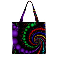 Fractal Background With High Quality Spiral Of Balls On Black Zipper Grocery Tote Bag by Amaryn4rt