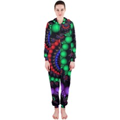 Fractal Background With High Quality Spiral Of Balls On Black Hooded Jumpsuit (ladies)  by Amaryn4rt