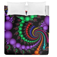 Fractal Background With High Quality Spiral Of Balls On Black Duvet Cover Double Side (queen Size) by Amaryn4rt