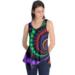 Fractal Background With High Quality Spiral Of Balls On Black Sleeveless Tunic by Amaryn4rt