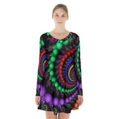Fractal Background With High Quality Spiral Of Balls On Black Long Sleeve Velvet V-neck Dress by Amaryn4rt
