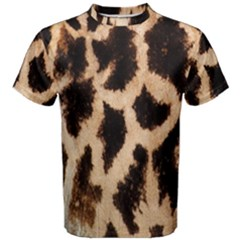 Yellow And Brown Spots On Giraffe Skin Texture Men s Cotton Tee