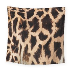 Yellow And Brown Spots On Giraffe Skin Texture Square Tapestry (large)