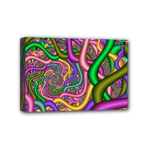 Fractal Background With Tangled Color Hoses Mini Canvas 6  X 4  by Amaryn4rt