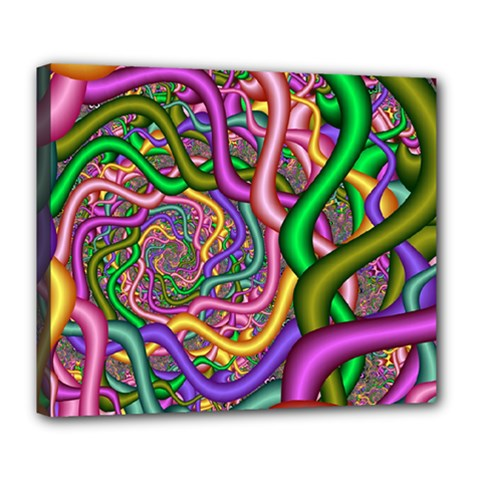 Fractal Background With Tangled Color Hoses Deluxe Canvas 24  X 20   by Amaryn4rt
