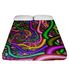 Fractal Background With Tangled Color Hoses Fitted Sheet (california King Size)