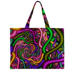 Fractal Background With Tangled Color Hoses Zipper Mini Tote Bag by Amaryn4rt