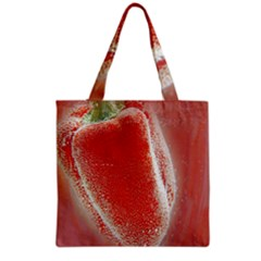 Red Pepper And Bubbles Grocery Tote Bag by Amaryn4rt