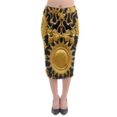Golden Sun Midi Pencil Skirt