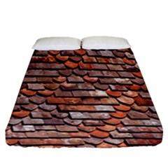 Roof Tiles On A Country House Fitted Sheet (queen Size) by Amaryn4rt