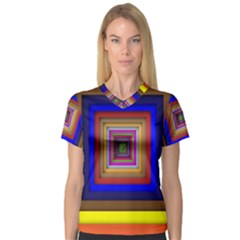 Square Abstract Geometric Art Women s V Neck Sport Mesh Tee by Amaryn4rt