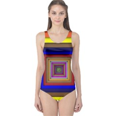Square Abstract Geometric Art One Piece Swimsuit