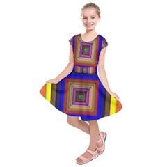 Square Abstract Geometric Art Kids  Short Sleeve Dress by Amaryn4rt