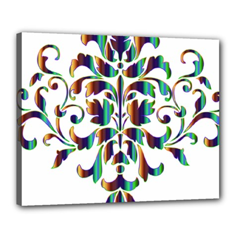 Damask Decorative Ornamental Canvas 20  X 16