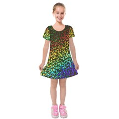 Construction Paper Iridescent Kids  Short Sleeve Velvet Dress by Amaryn4rt