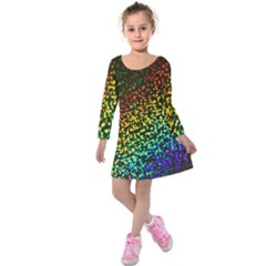 Construction Paper Iridescent Kids  Long Sleeve Velvet Dress