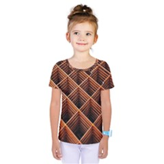 Metal Grid Framework Creates An Abstract Kids  One Piece Tee by Amaryn4rt