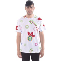 Colorful Floral Wallpaper Background Pattern Men s Sport Mesh Tee