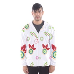 Colorful Floral Wallpaper Background Pattern Hooded Wind Breaker (men) by Amaryn4rt