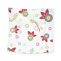 Colorful Floral Wallpaper Background Pattern Square Tapestry (small)