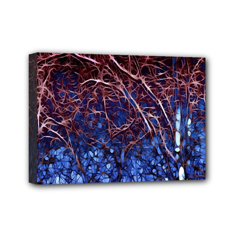 Autumn Fractal Forest Background Mini Canvas 7  X 5  by Amaryn4rt