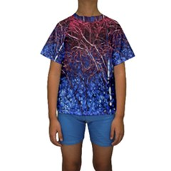 Autumn Fractal Forest Background Kids  Short Sleeve Swimwear by Amaryn4rt