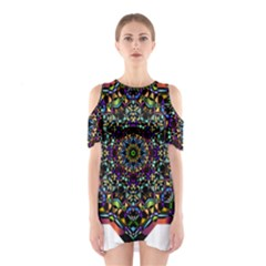Mandala Abstract Geometric Art Shoulder Cutout One Piece