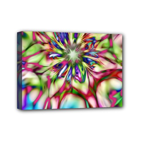 Magic Fractal Flower Multicolored Mini Canvas 7  X 5  by EDDArt