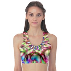 Magic Fractal Flower Multicolored Sports Bra by EDDArt
