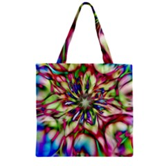 Magic Fractal Flower Multicolored Zipper Grocery Tote Bag by EDDArt