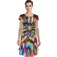 Magic Fractal Flower Multicolored Cap Sleeve Nightdress by EDDArt