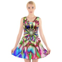 Magic Fractal Flower Multicolored V Neck Sleeveless Skater Dress by EDDArt