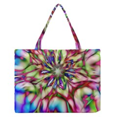Magic Fractal Flower Multicolored Medium Zipper Tote Bag by EDDArt