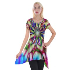 Magic Fractal Flower Multicolored Short Sleeve Side Drop Tunic by EDDArt