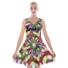 Magic Fractal Flower Multicolored Velvet Skater Dress by EDDArt