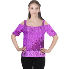 Purple Background Scrapbooking Paper Women s Cutout Shoulder Tee