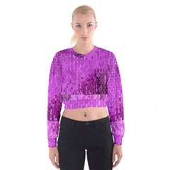 Purple Background Scrapbooking Paper Women s Cropped Sweatshirt