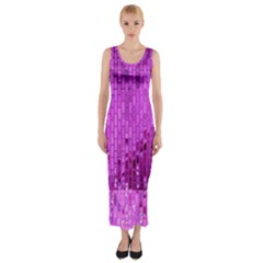 Purple Background Scrapbooking Paper Fitted Maxi Dress