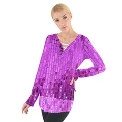 Purple Background Scrapbooking Paper Women s Tie Up Tee