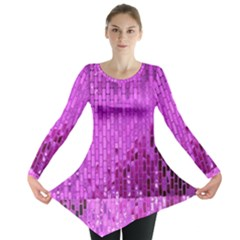 Purple Background Scrapbooking Paper Long Sleeve Tunic